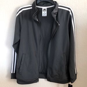 NWT adidas stripped gray zip up jacket
